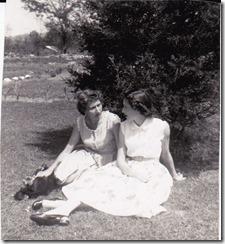 Mom and Nannie outside